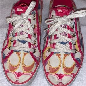 Coach Tennis Shoe Sneaker Pink Multicolor Sz 10